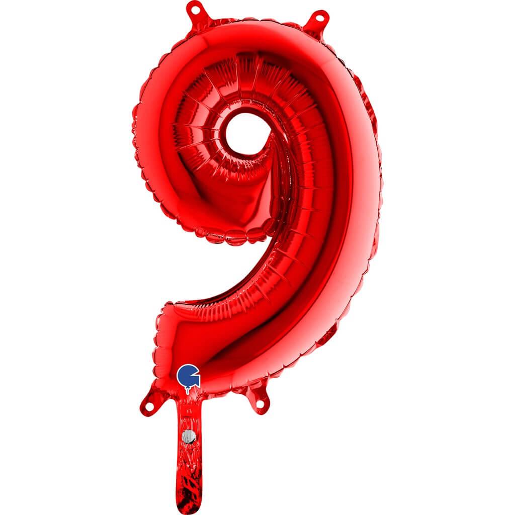 Ballon anniversaire chiffre 9 Rouge 36cm