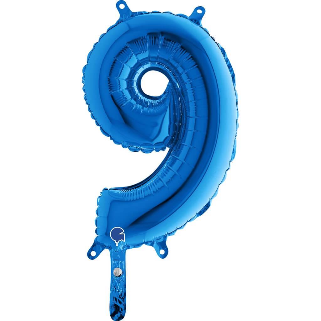 Ballon anniversaire chiffre 9 Bleu 36cm