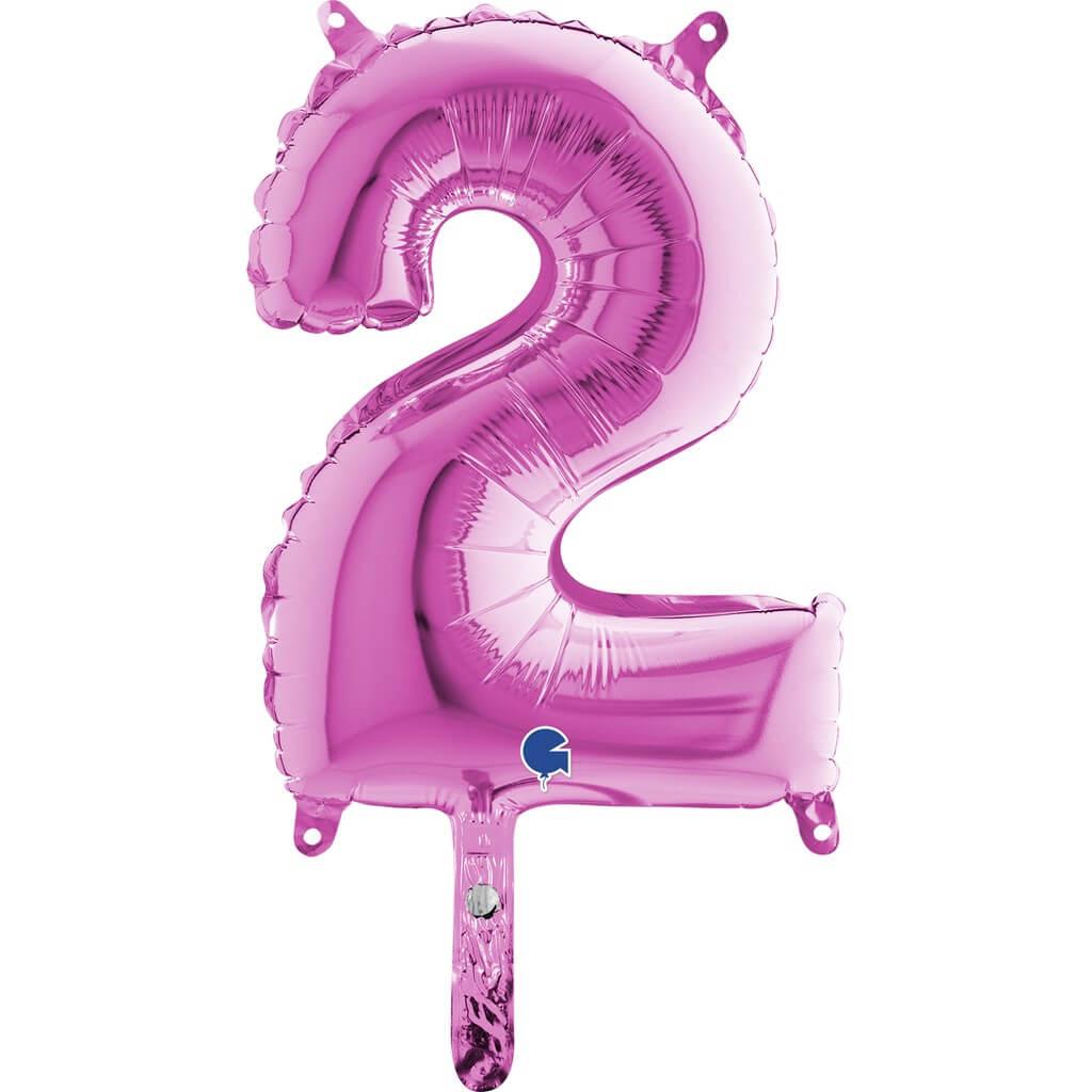Ballon anniversaire chiffre 2 Rose 36cm