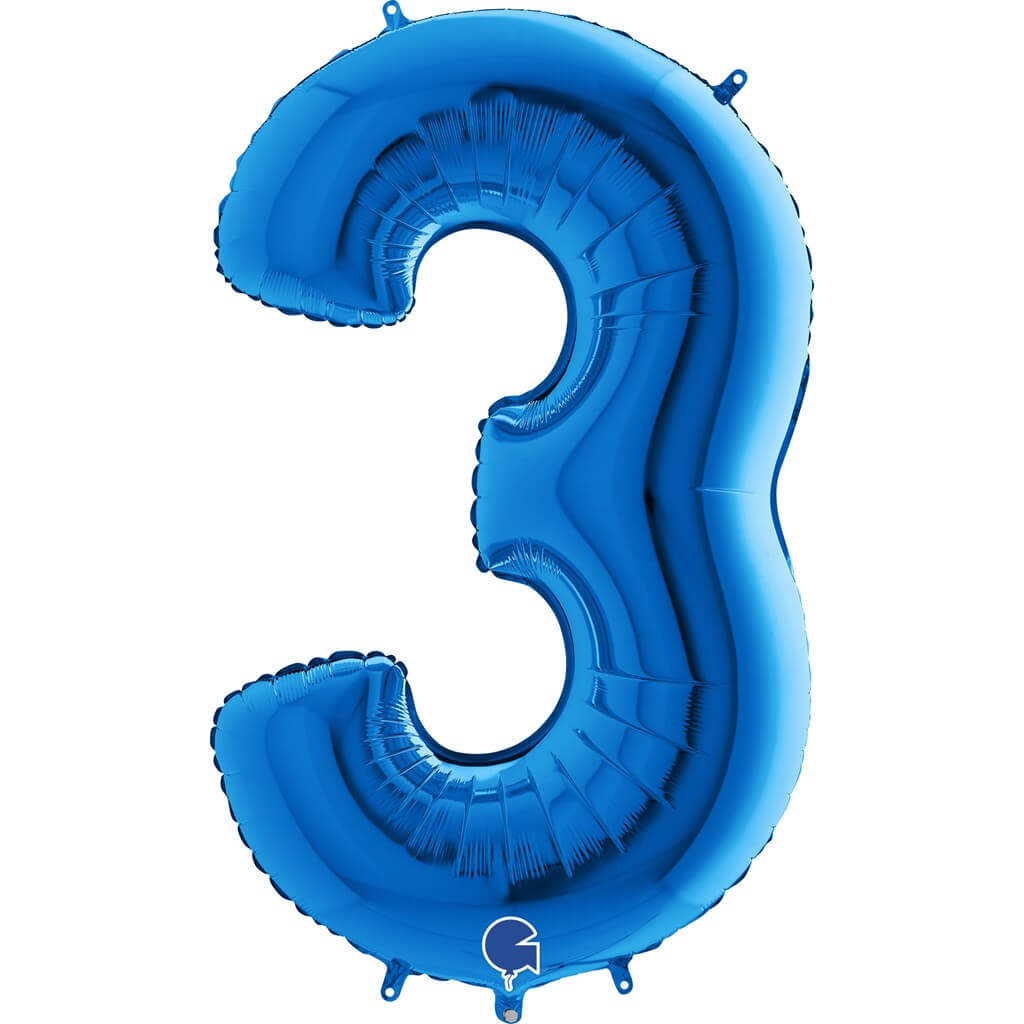 Ballon anniversaire chiffre 3 Bleu 102cm