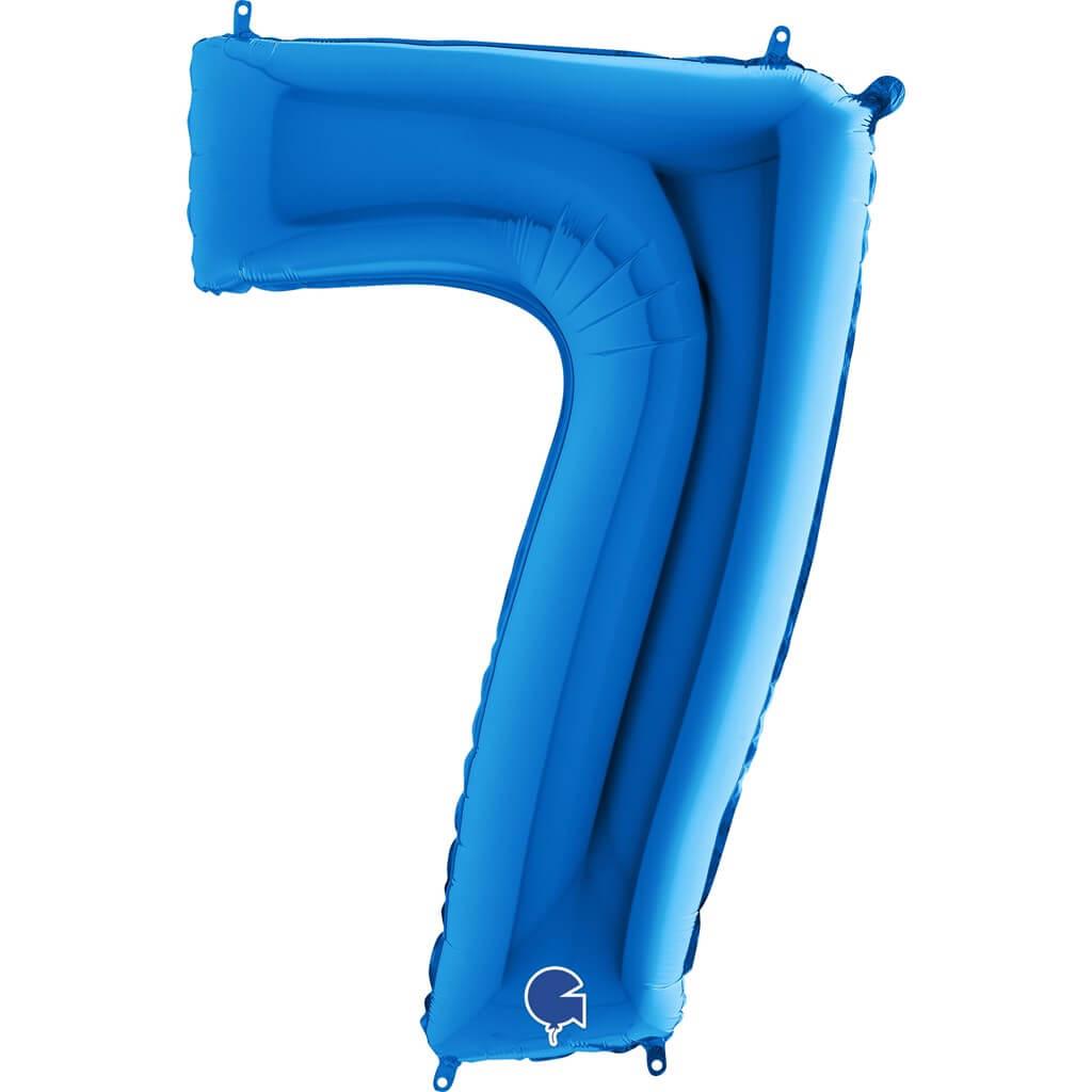 Ballon anniversaire chiffre 7 Bleu 102cm