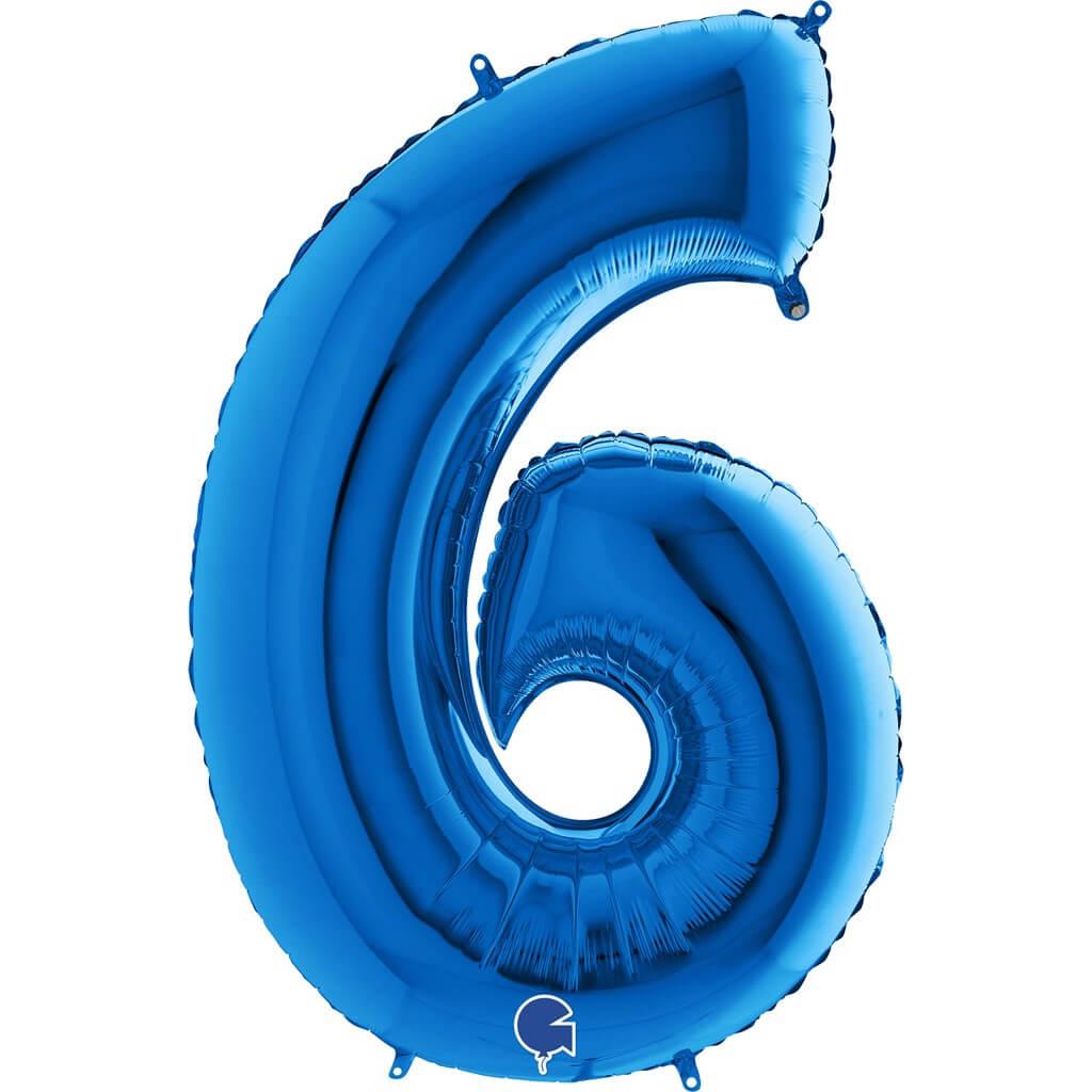 Ballon Anniversaire Chiffre 6 Bleu 102cm