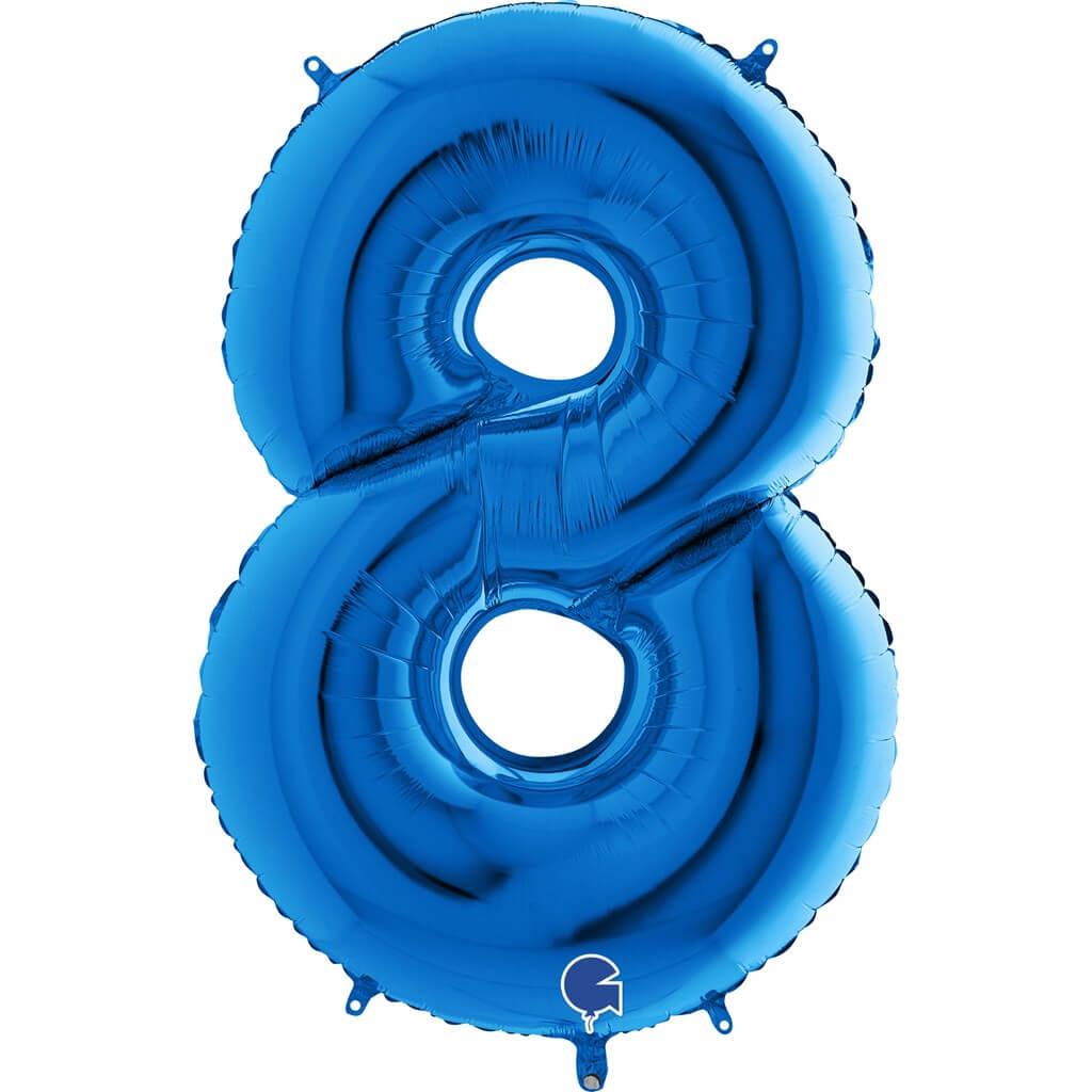 Ballon anniversaire chiffre 8 Bleu 102cm