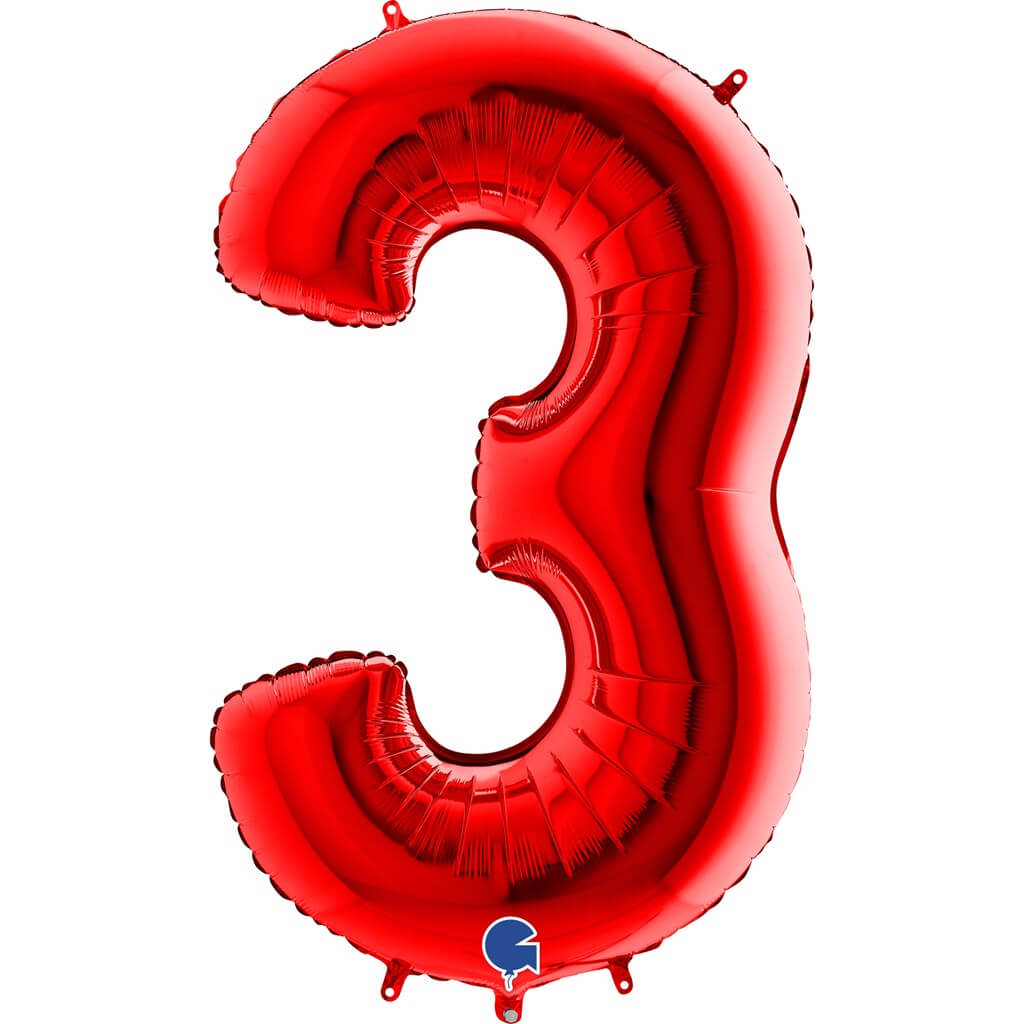 Ballon anniversaire chiffre 3 Rouge 102cm