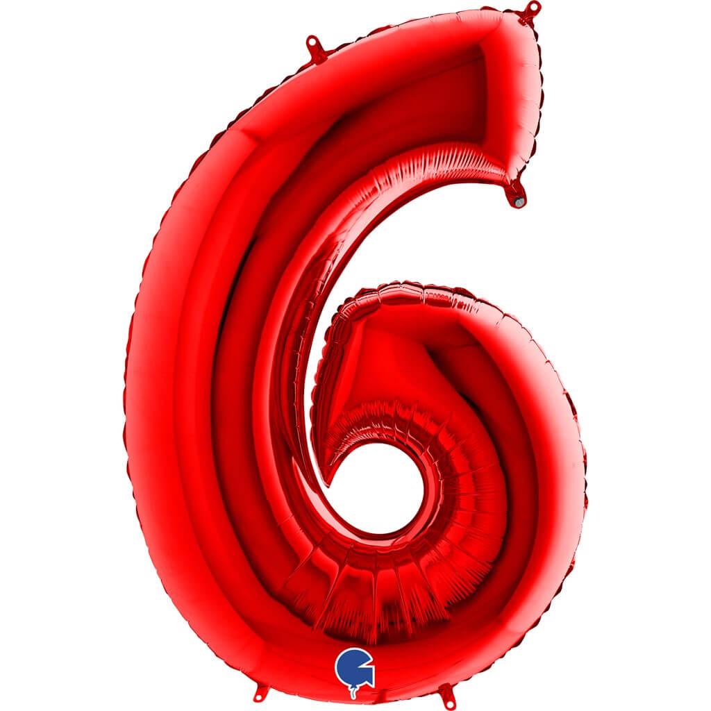 Ballon anniversaire chiffre 6 Rouge 102cm