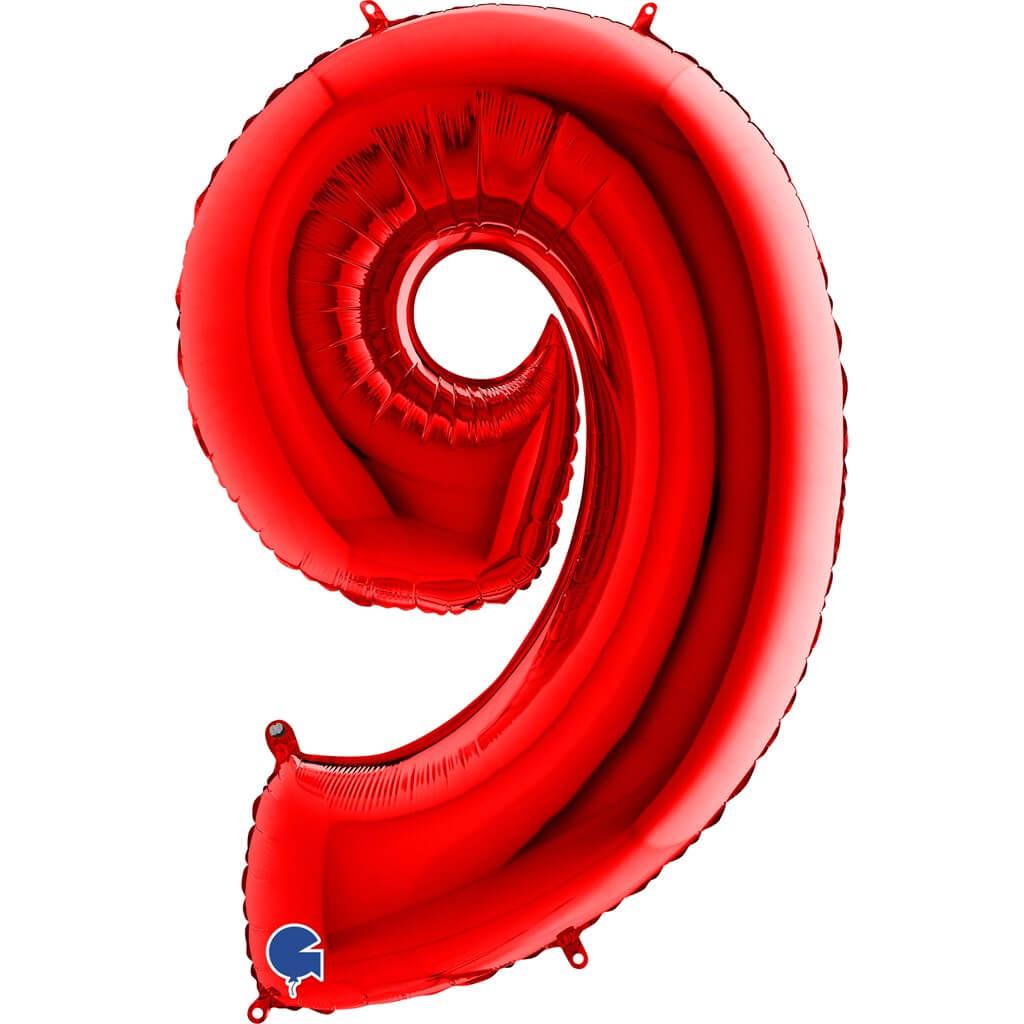 Ballon anniversaire chiffre 9 Rouge 102cm