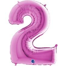 Ballon anniversaire chiffre 2 Rose 102cm