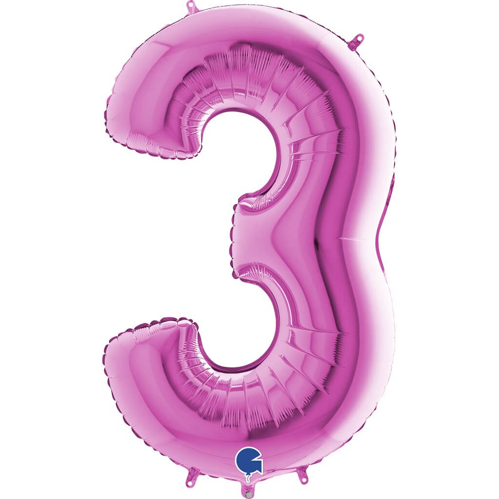 Ballon anniversaire chiffre 3 Rose 102cm