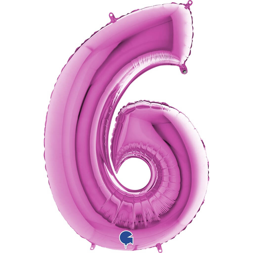 Ballon anniversaire chiffre 6 Rose 102cm