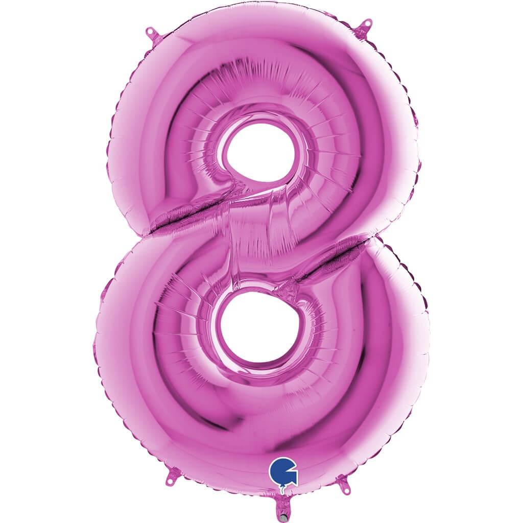 Ballon anniversaire chiffre 8 Rose 102cm