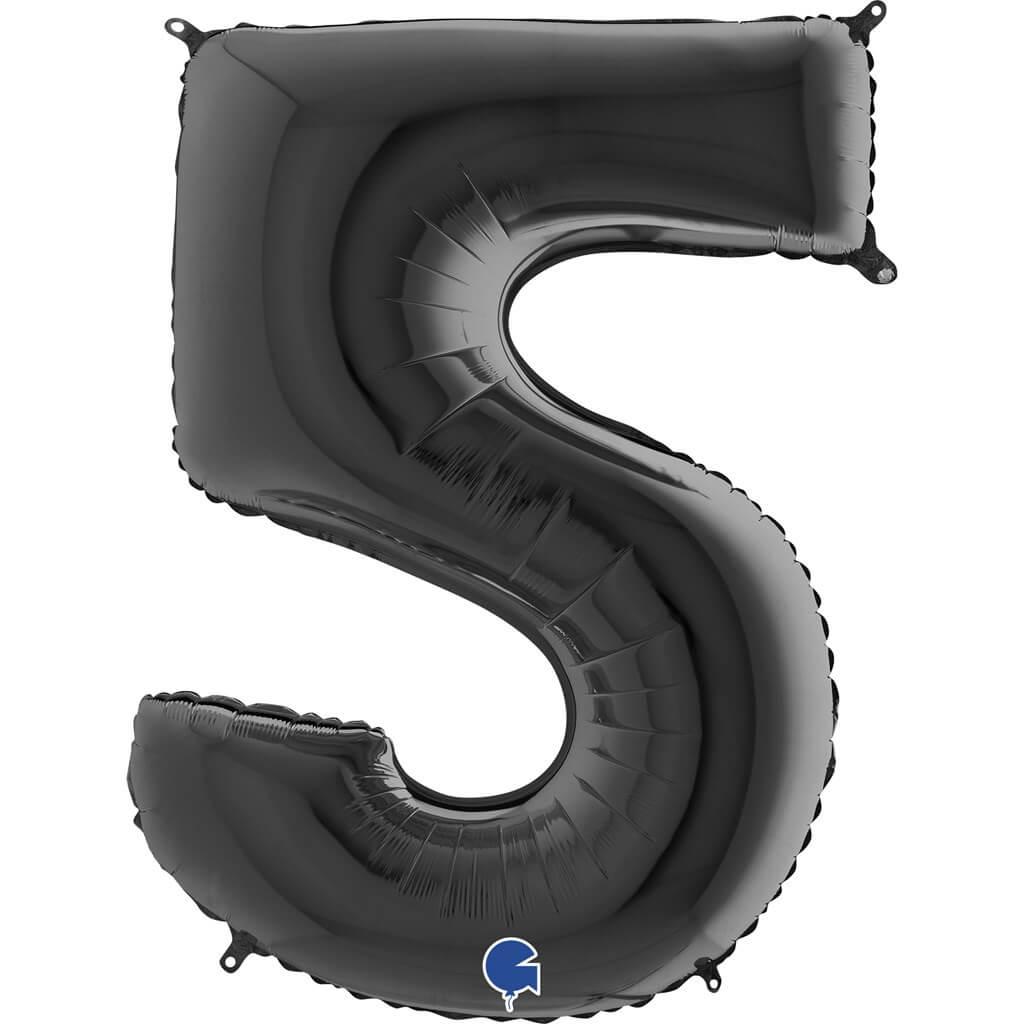 Ballon anniversaire chiffre 5 Noir 102cm