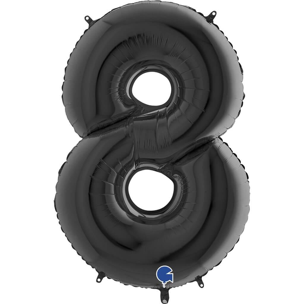 Ballon anniversaire chiffre 8 Noir 102cm