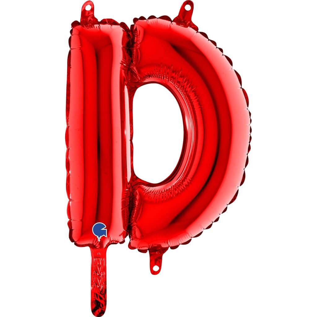 Ballon aluminium lettre D Rouge 36cm