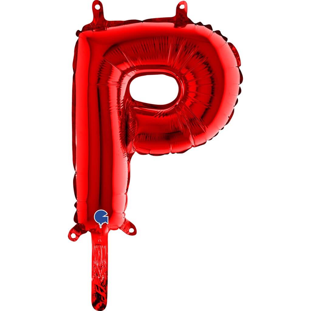 Ballon aluminium lettre P Rouge 36cm