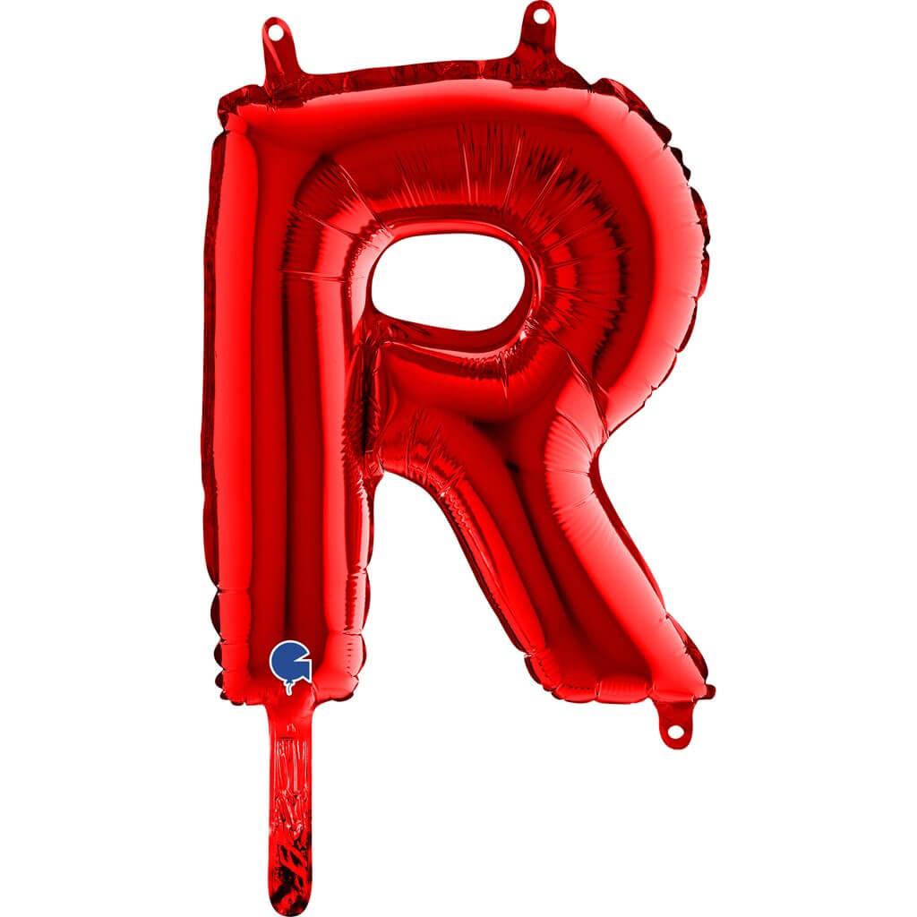 Ballon aluminium lettre R Rouge 36cm