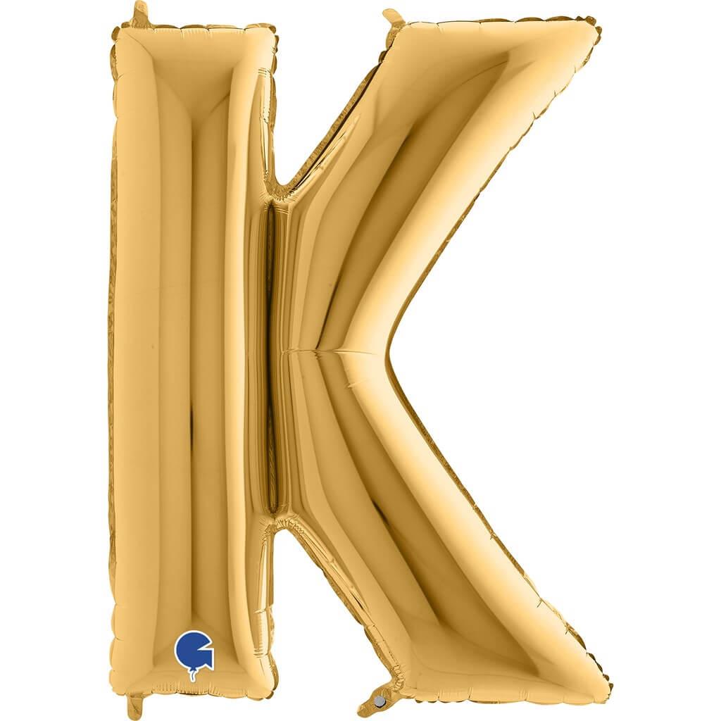 Ballon aluminium lettre K Or 102cm