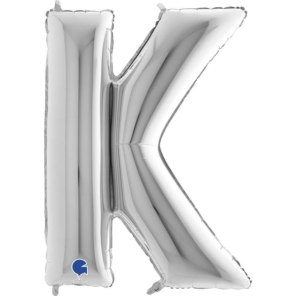 Ballon Aluminium lettre K Argent 102cm