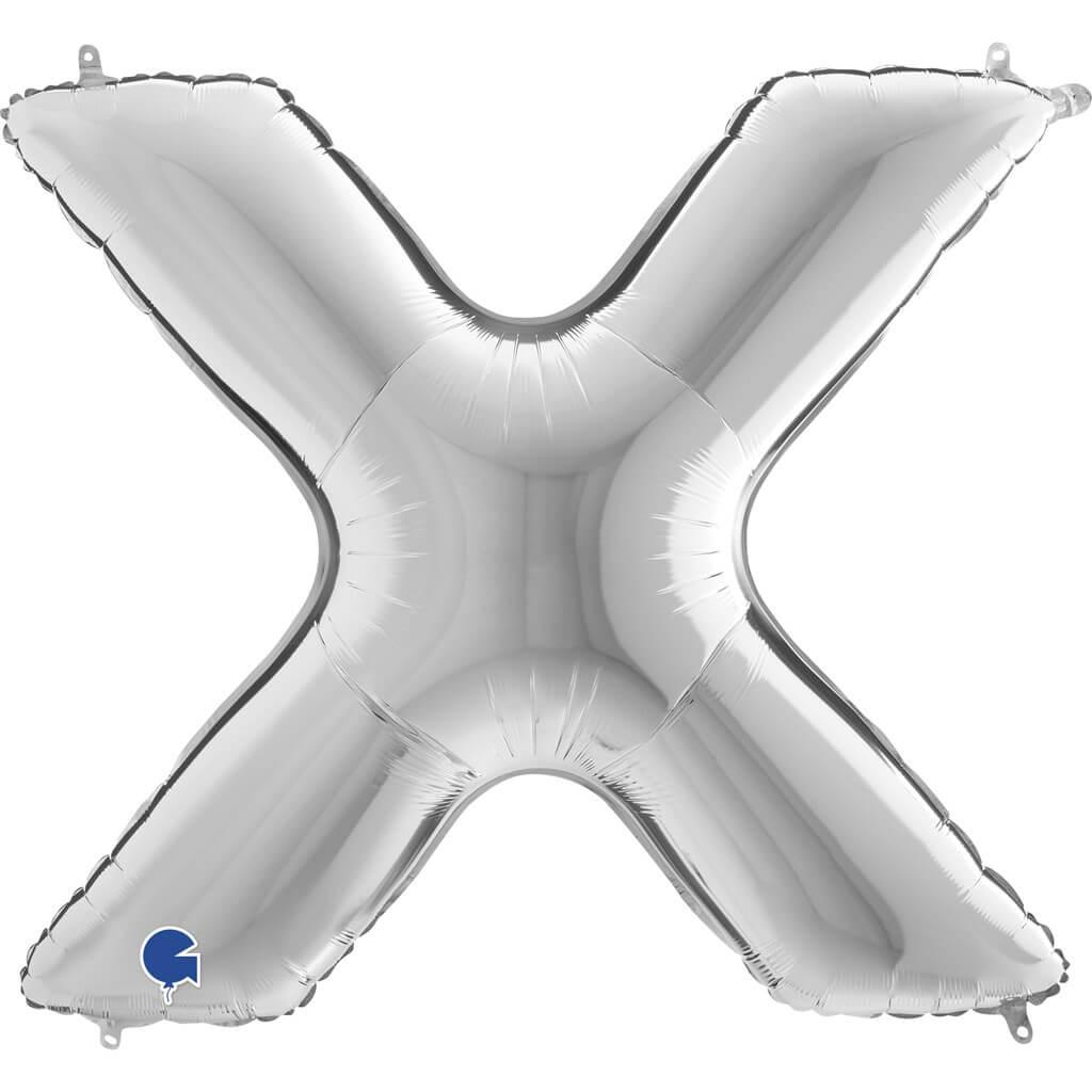 Ballon Aluminium lettre X Argent 102cm