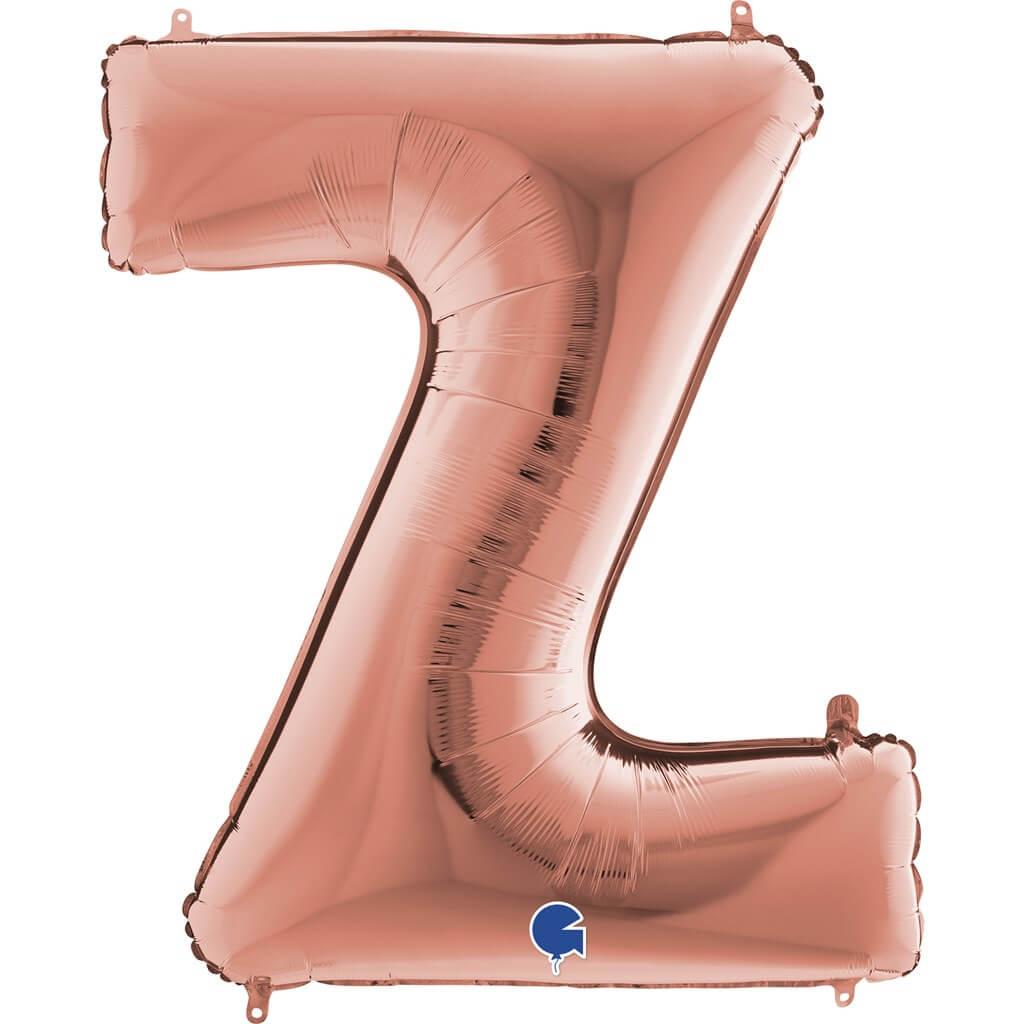 Ballon aluminium lettre Z Or Rose 102cm
