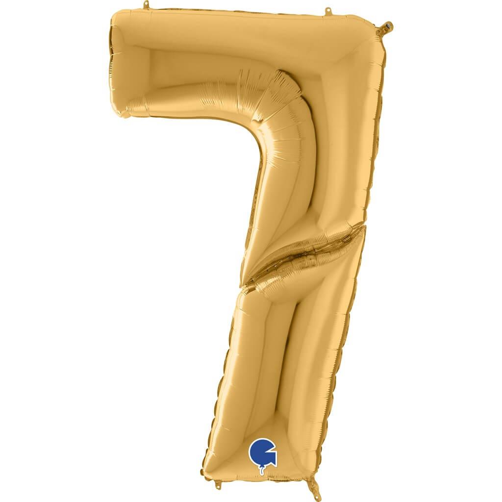 Ballon anniversaire Géant chiffre 7 Or 163cm
