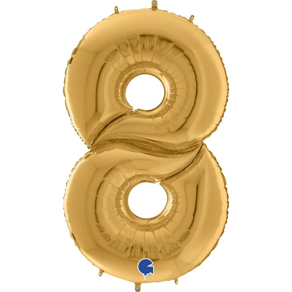 Ballon anniversaire Géant chiffre 8 Or 163cm
