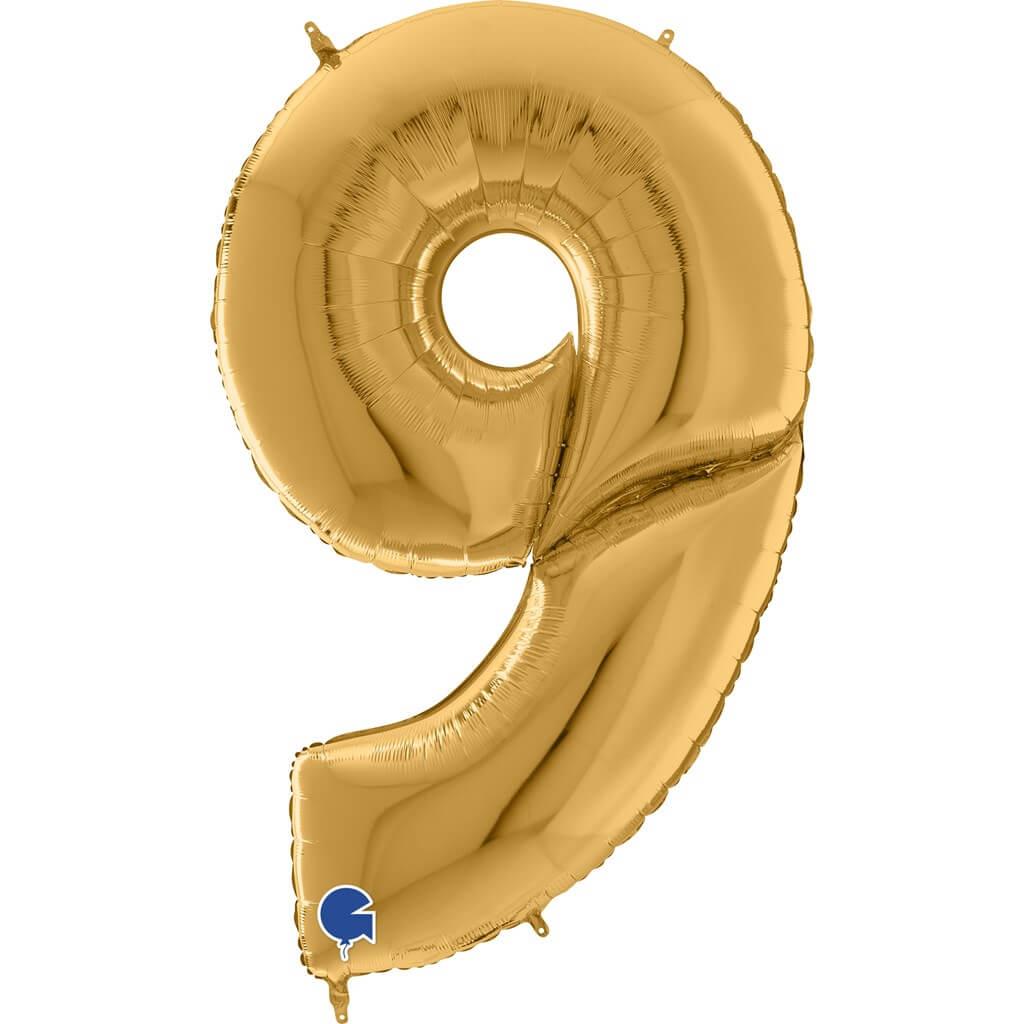 Ballon anniversaire Géant chiffre 9 Or 163cm
