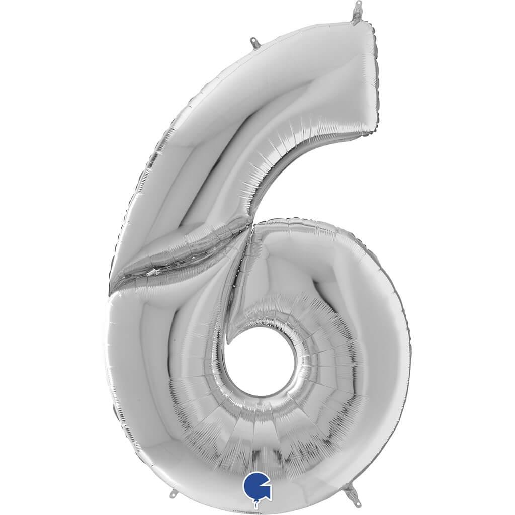 Ballon anniversaire Géant chiffre 6 Argent 163cm