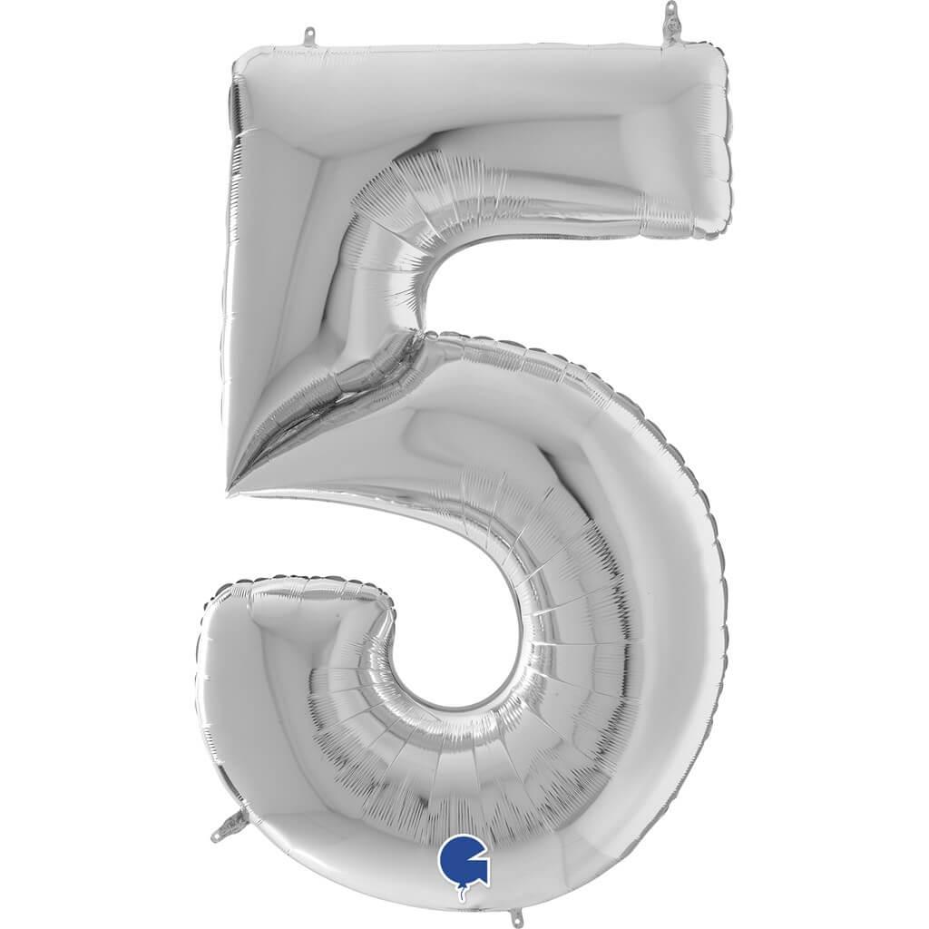 Ballon anniversaire Géant chiffre 5 Argent 163cm