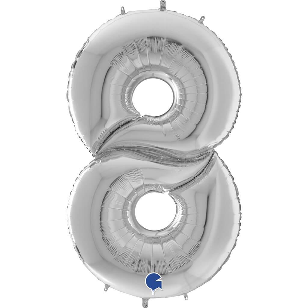 Ballon anniversaire Géant chiffre 8 Argent 163cm