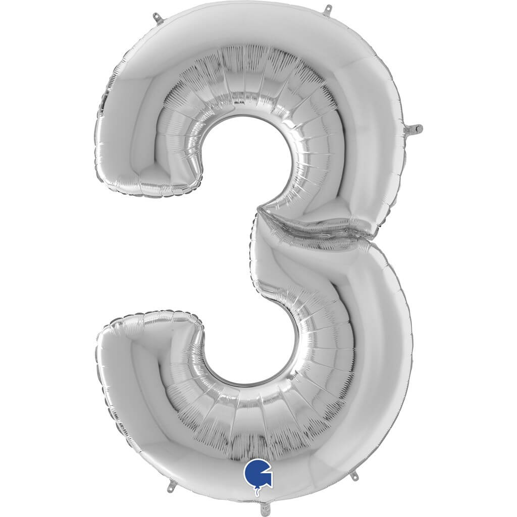 Ballon anniversaire Géant chiffre 3 Argent 163cm