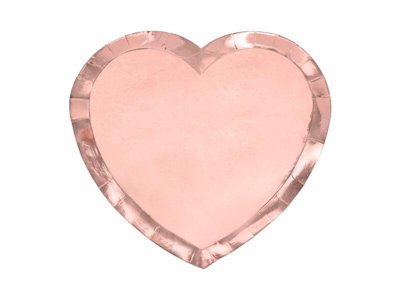 Assiette en papier forme Coeur Or Rose (Lot de 6)