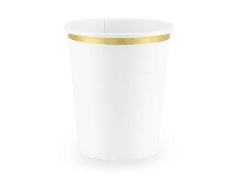 Gobelet en papier blanc avec bord Or (Lot de 6)