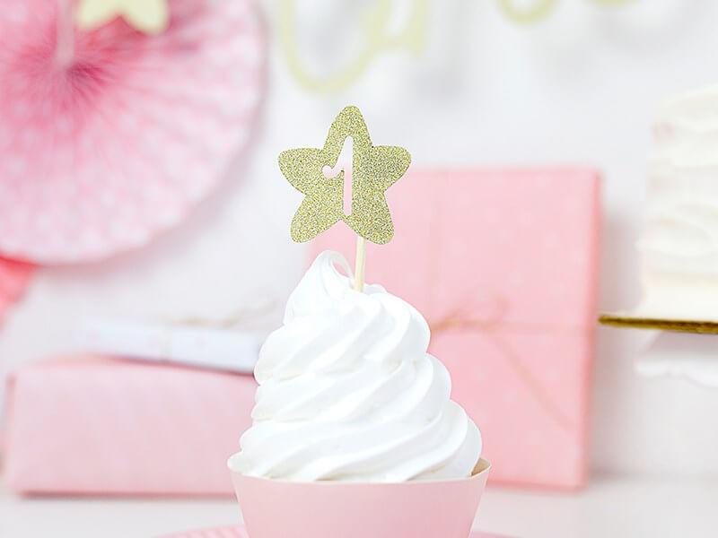 Décoration pour Cupcake 1st Birthday or pailleté (Lot de 6)