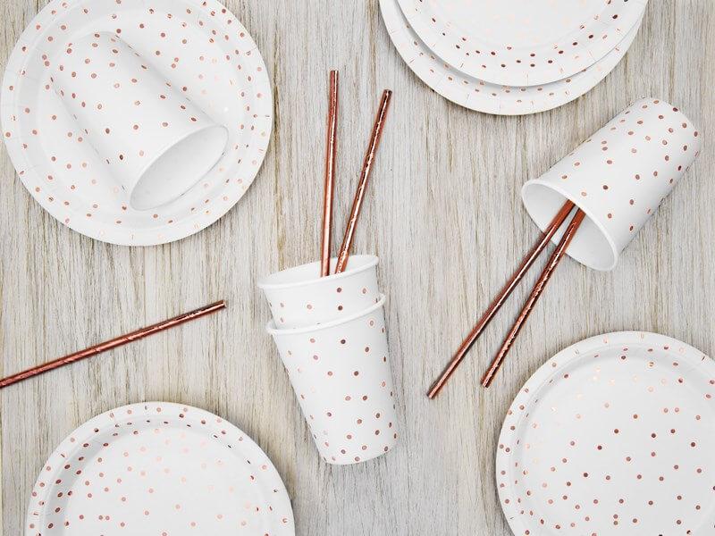 Assiette en papier blanche à pois Rose Gold (Lot de 6)