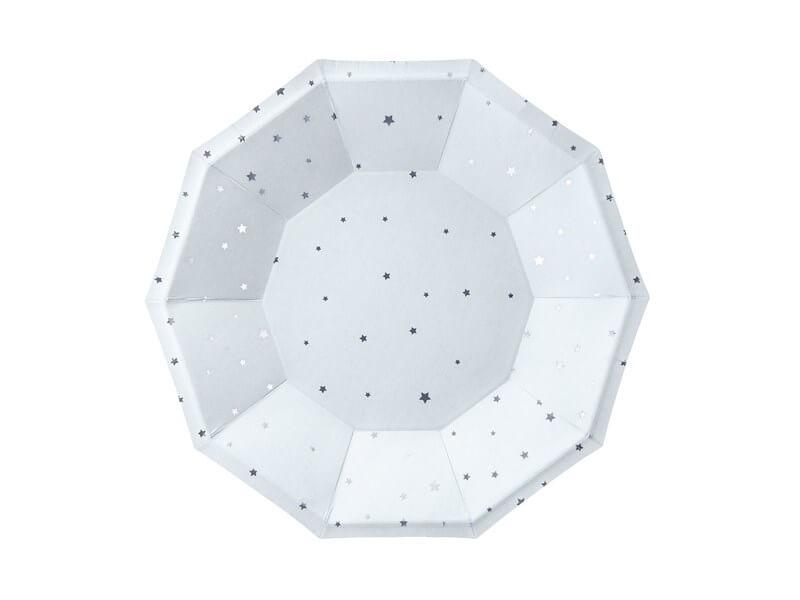 Assiette en papier bleu clair motif étoile argent (Lot de 6)