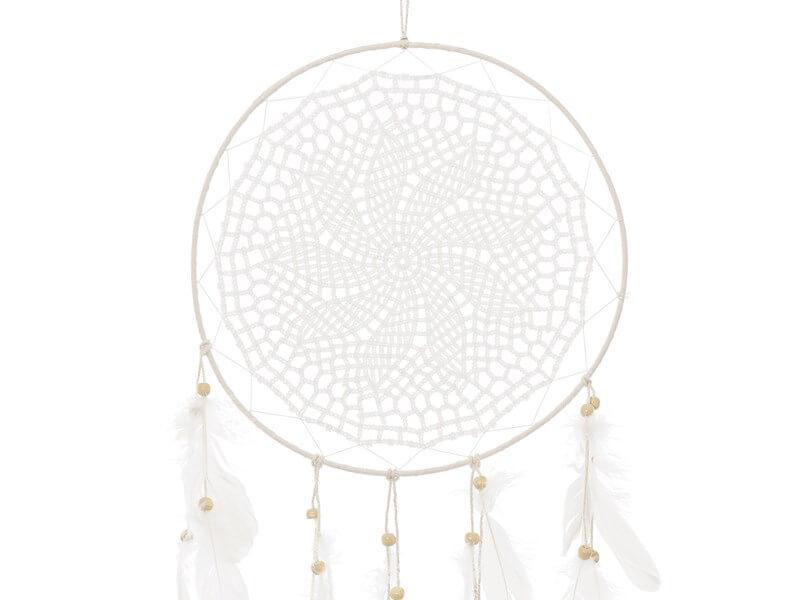 Attrape Rêve blanc avec plumes 94x30cm