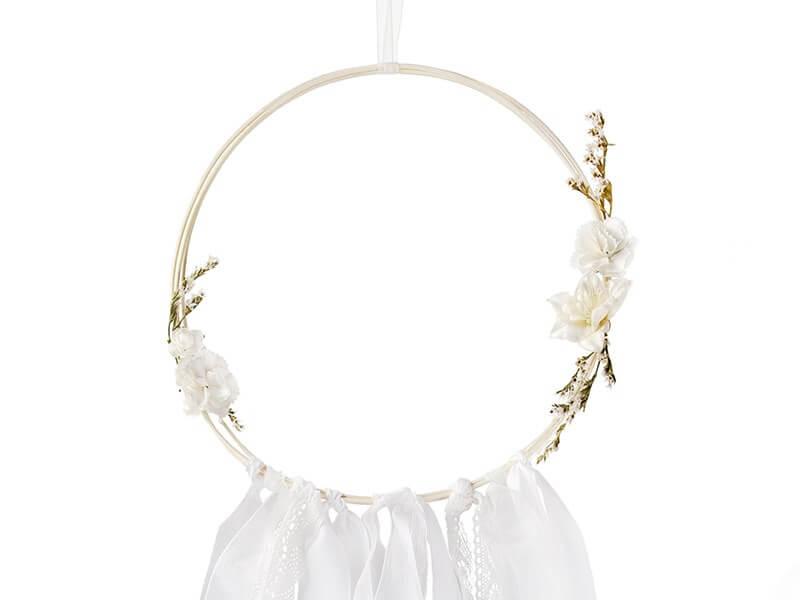 Attrape Rêve blanc avec avec fleurs (Lot de 3)