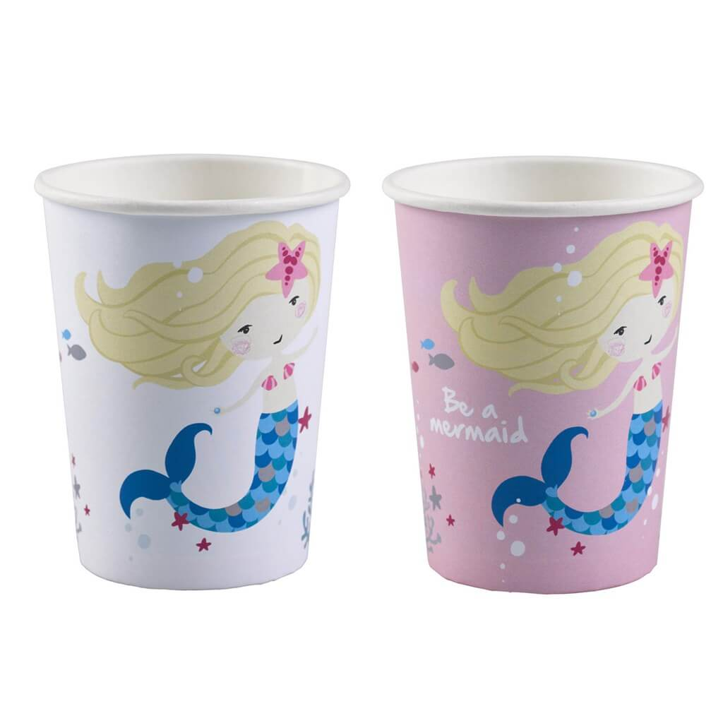 Gobelet en papier Sirène Be a Mermaid (Lot de 8)