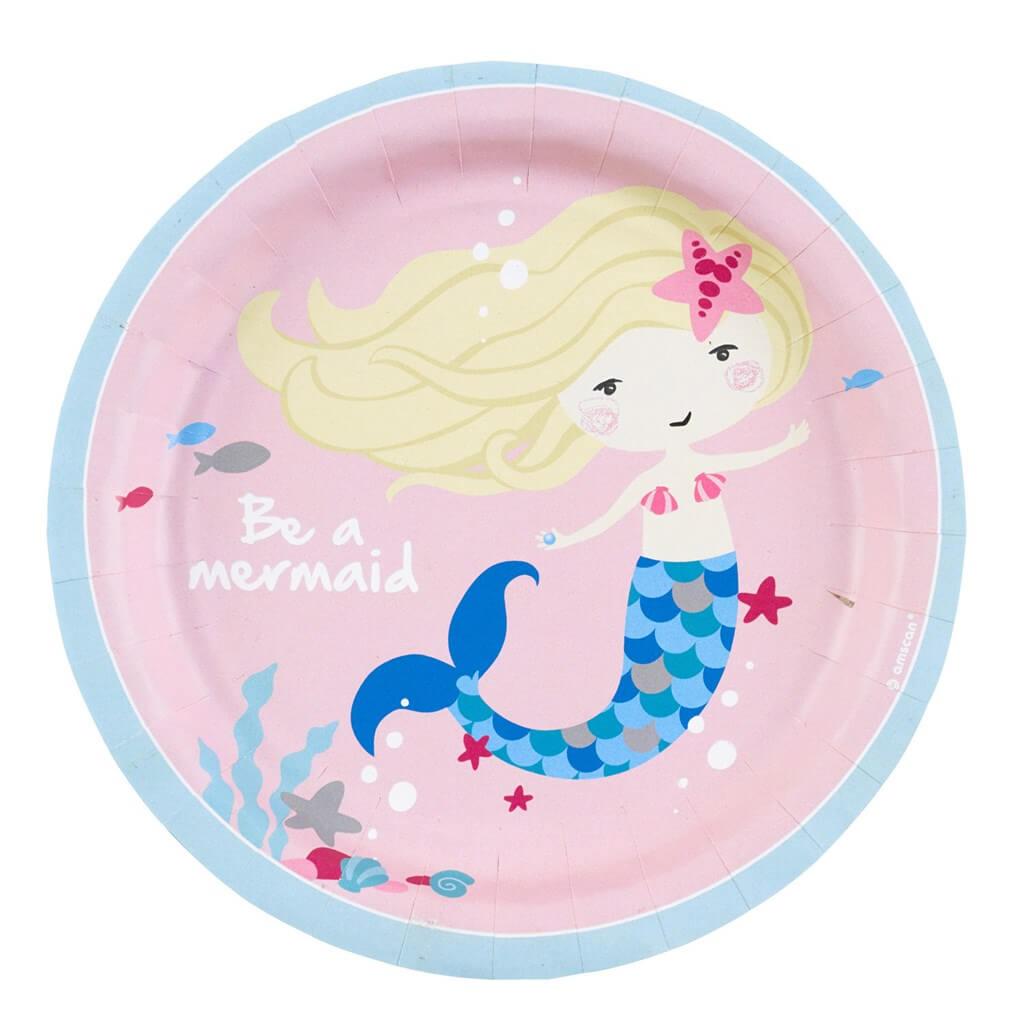 Assiette en papier Sirène Be a Mermaid (Lot de 8)