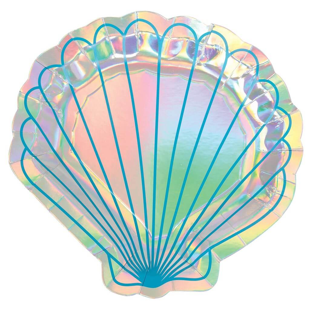 Assiette forme coquille Sirène Let's Shellebrate (Lot de 8)