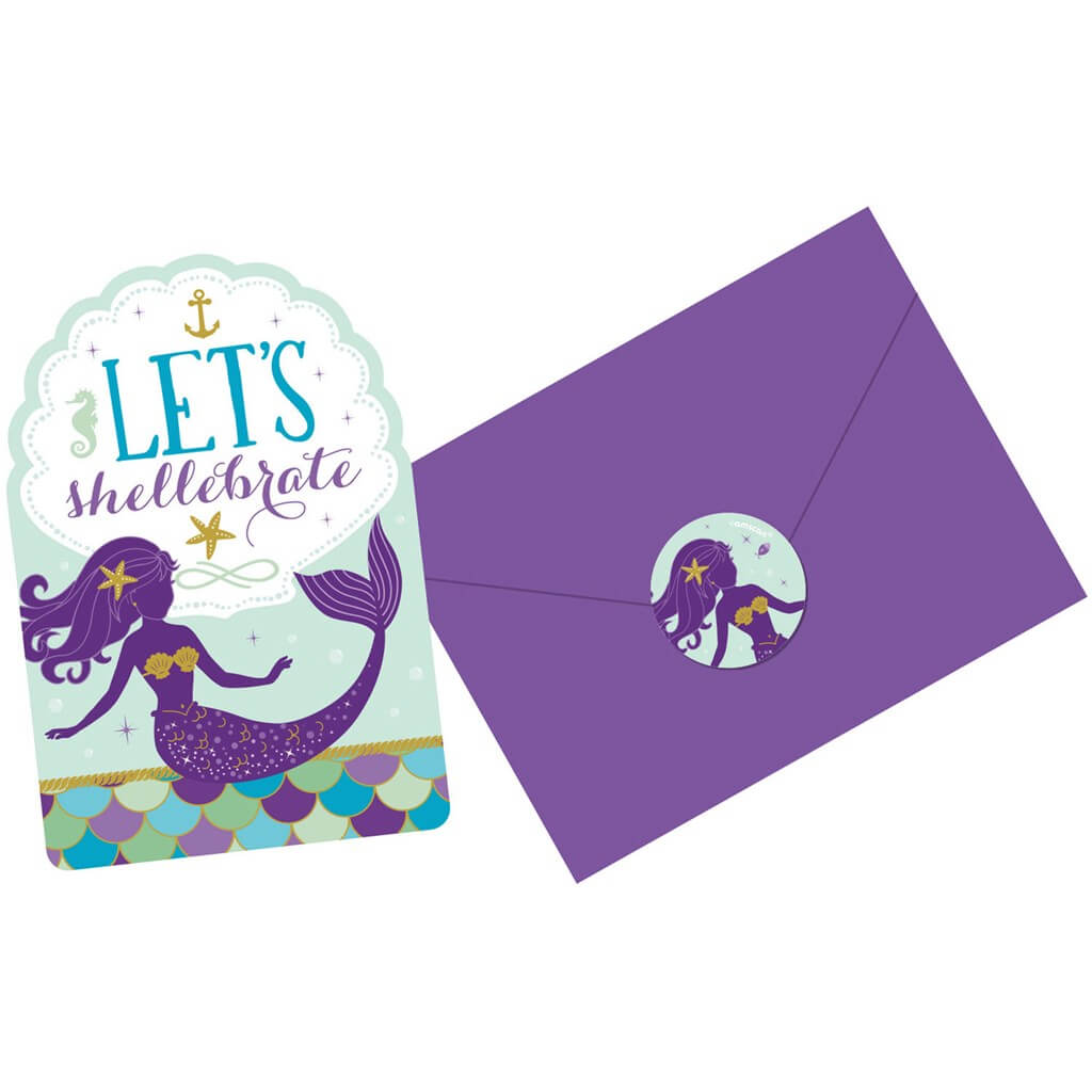 Invitation + Enveloppe Sirène Let's Shellebrate (Lot de 8)