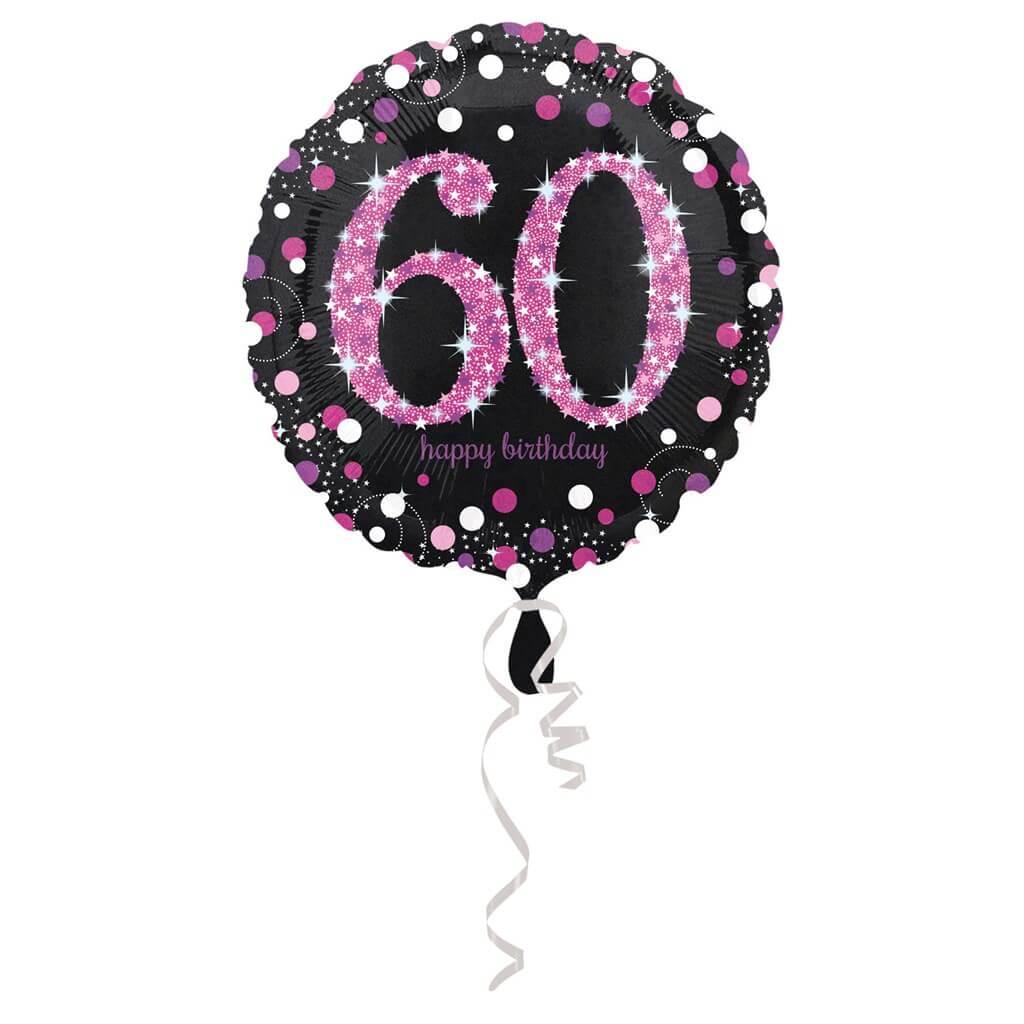 Ballon Anniversaire rond 60 ans rose