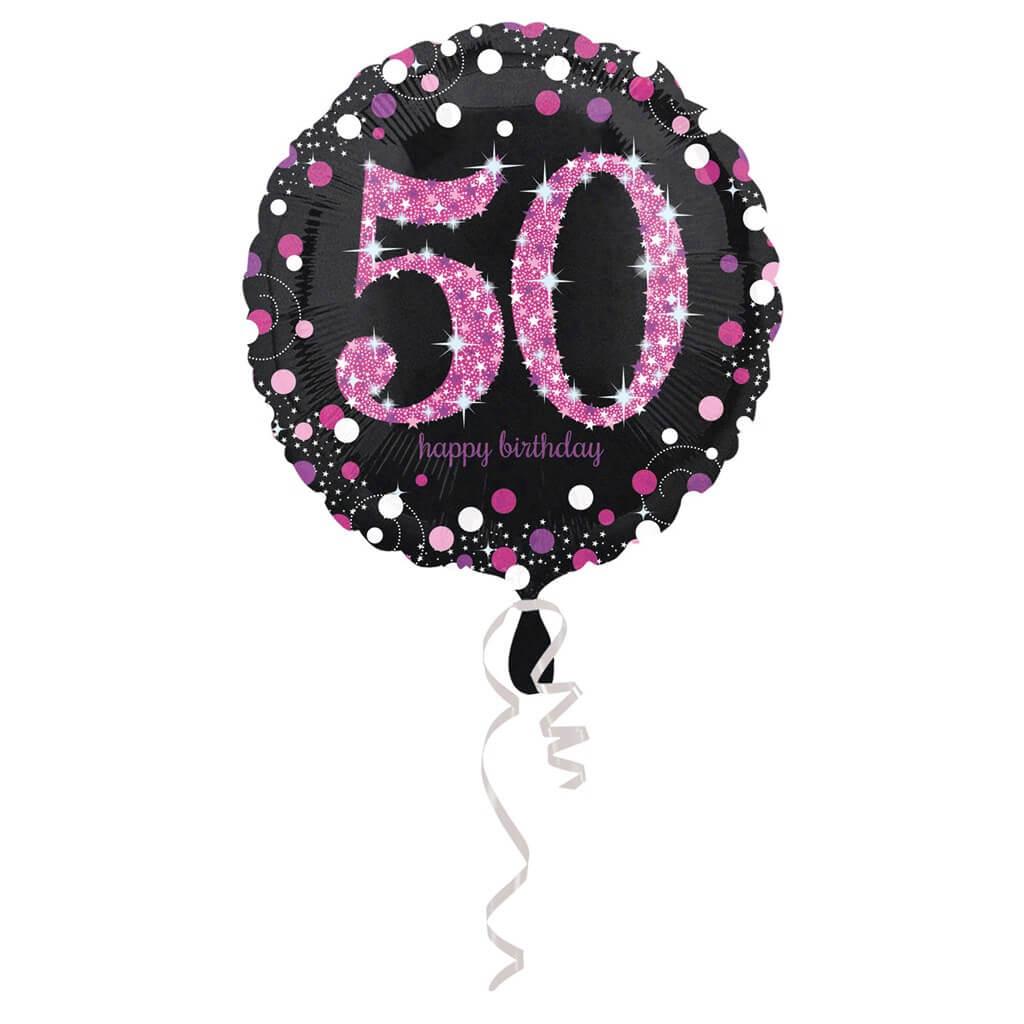 Ballon Anniversaire rond 50 ans rose