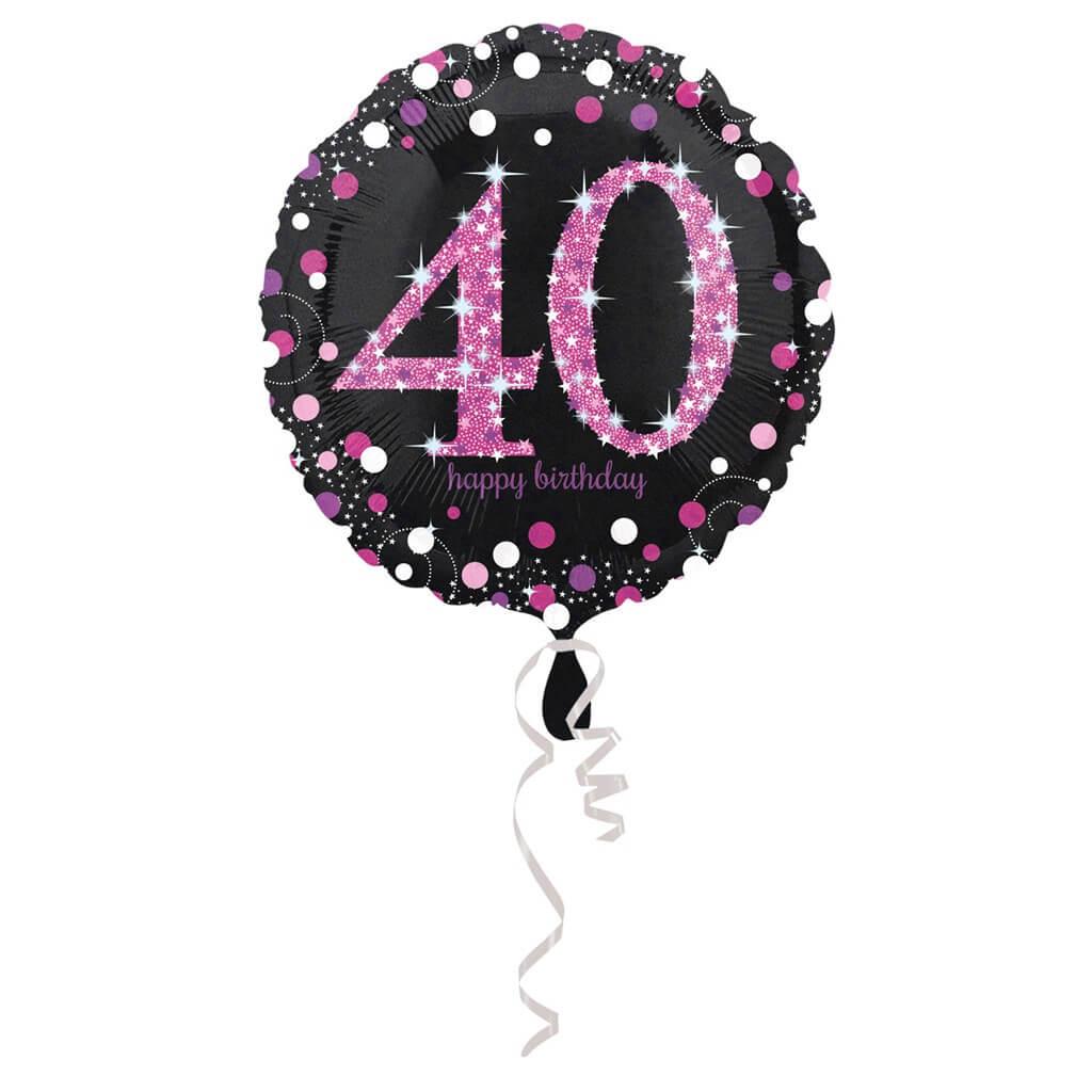 Ballon Anniversaire rond 40 ans rose