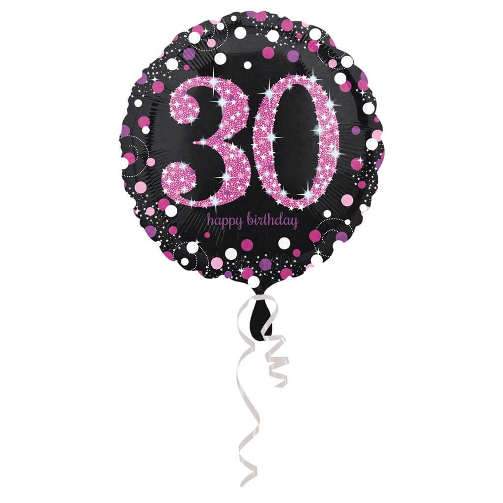 Ballon Anniversaire rond 30 ans rose