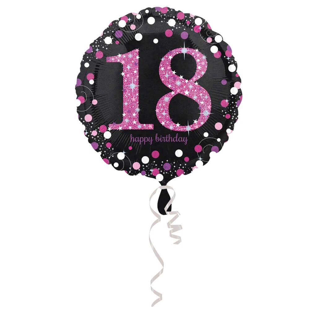 Ballon Anniversaire rond 18 ans rose