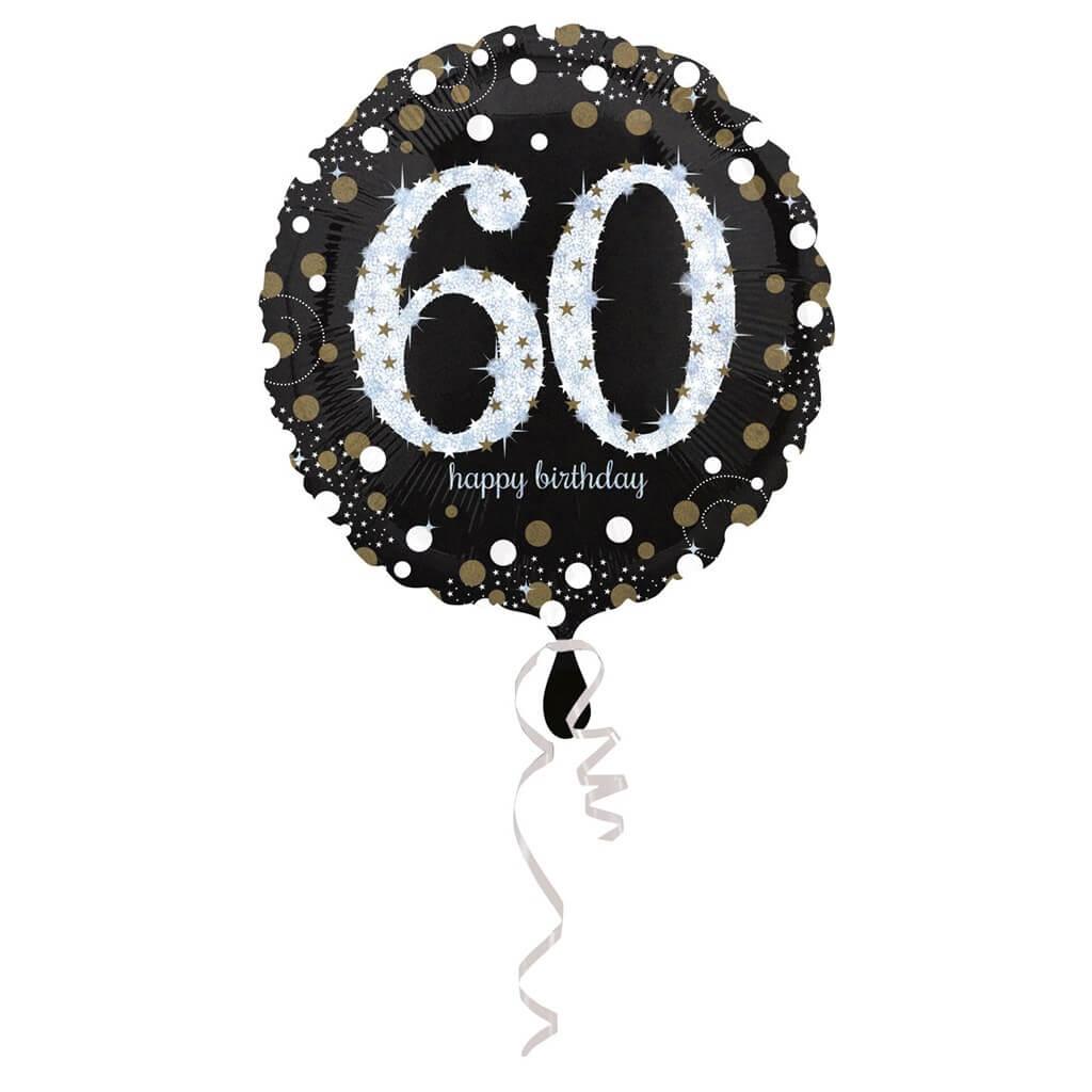 Ballon Anniversaire rond 60 ans argent