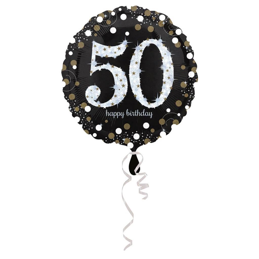 Ballon Anniversaire rond 50 ans argent