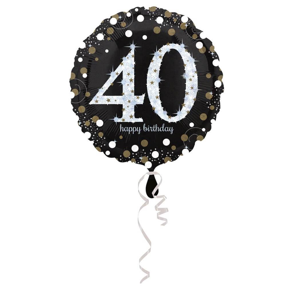 Ballon Anniversaire rond 40 ans argent