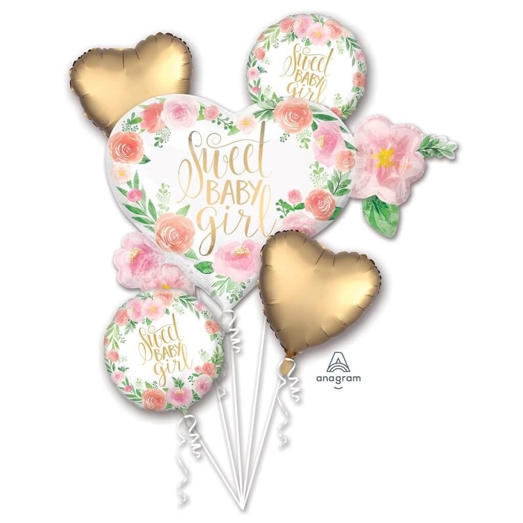 Bouquet de ballons Sweet Baby Girl (5 pièces)